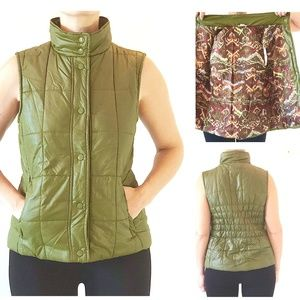 Fitted Olive Army Green Snap-up Puffy Vest